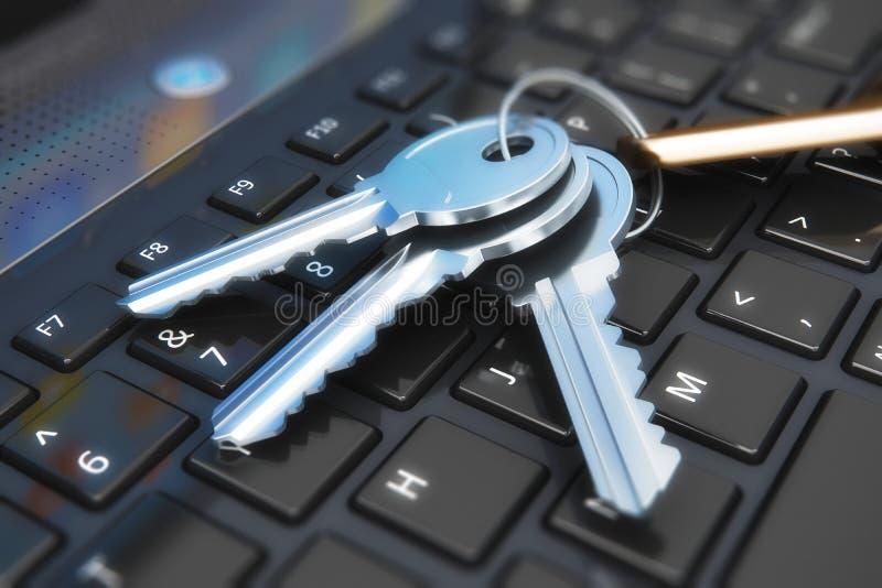 安全概念:在膝上型计算机键盘的钥匙 库存例证