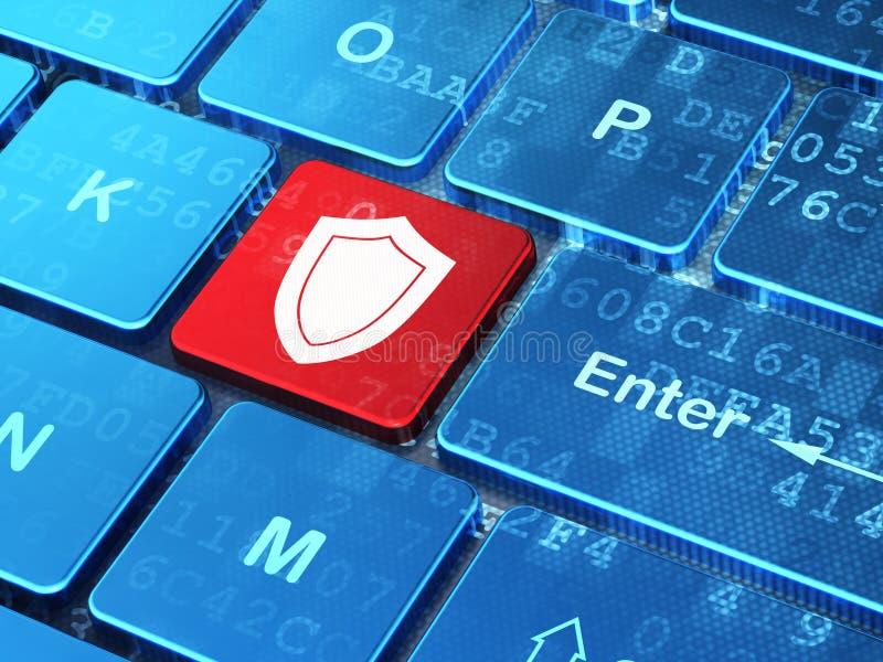 安全概念:在键盘的盾 皇族释放例证