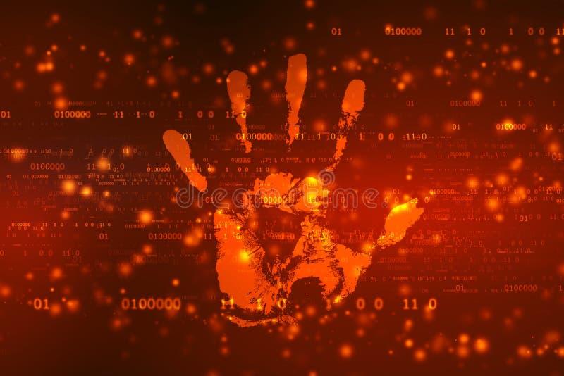 安全概念:手印刷品和数据保护在数字屏幕上 向量例证