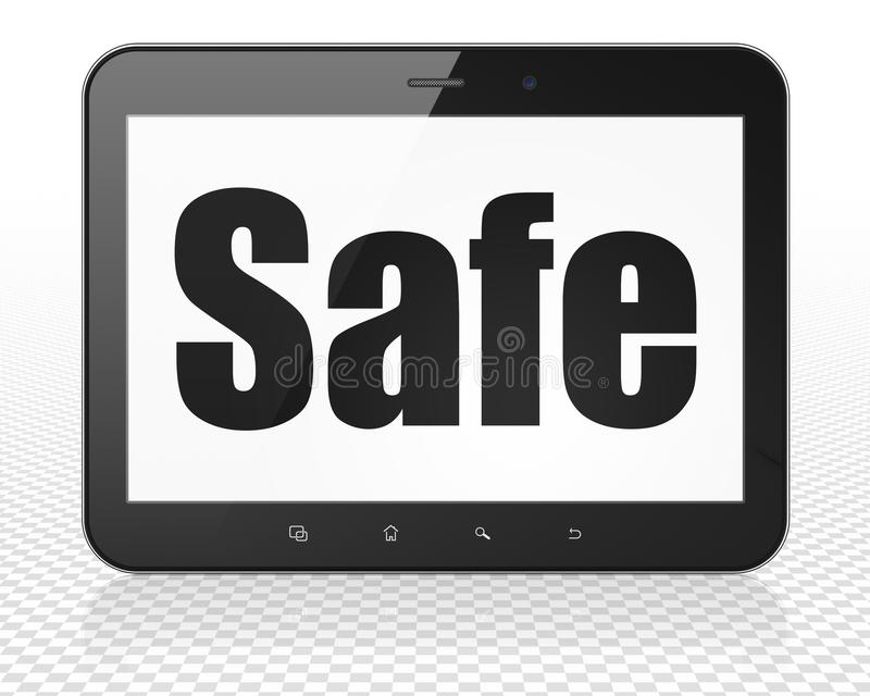 安全概念:片剂有保险柜的个人计算机计算机在显示 向量例证