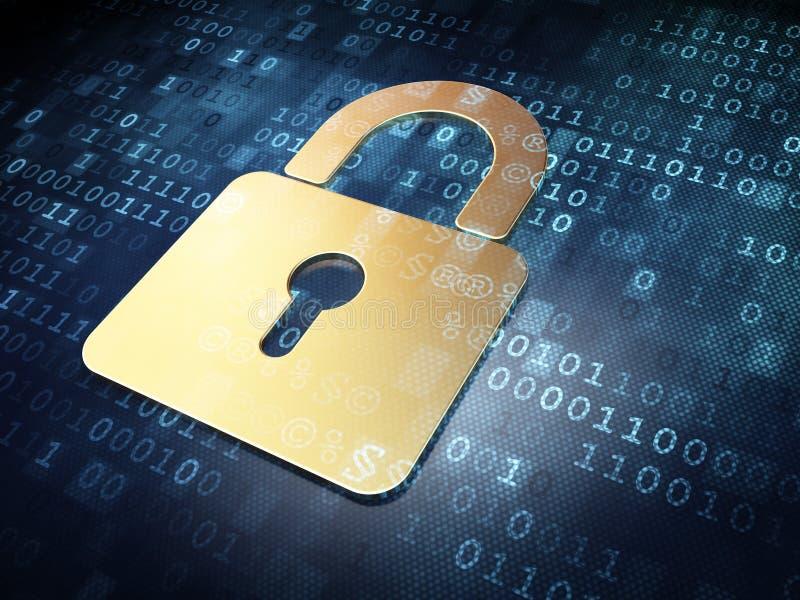 安全概念:金子在数字式背景的被关闭的挂锁 向量例证