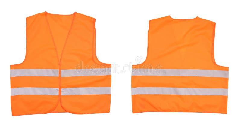 安全橙色背心。前面和后面看法 免版税库存图片