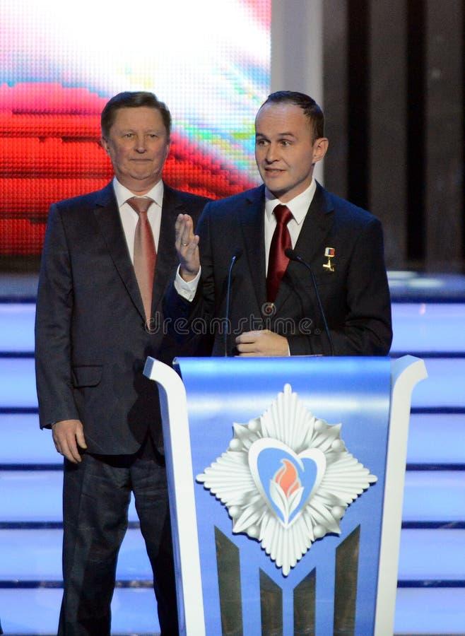 安全理事会俄罗斯联邦谢尔盖伊凡诺夫和测试宇航员cerem的谢尔盖Ryazanskiy的永久成员 图库摄影