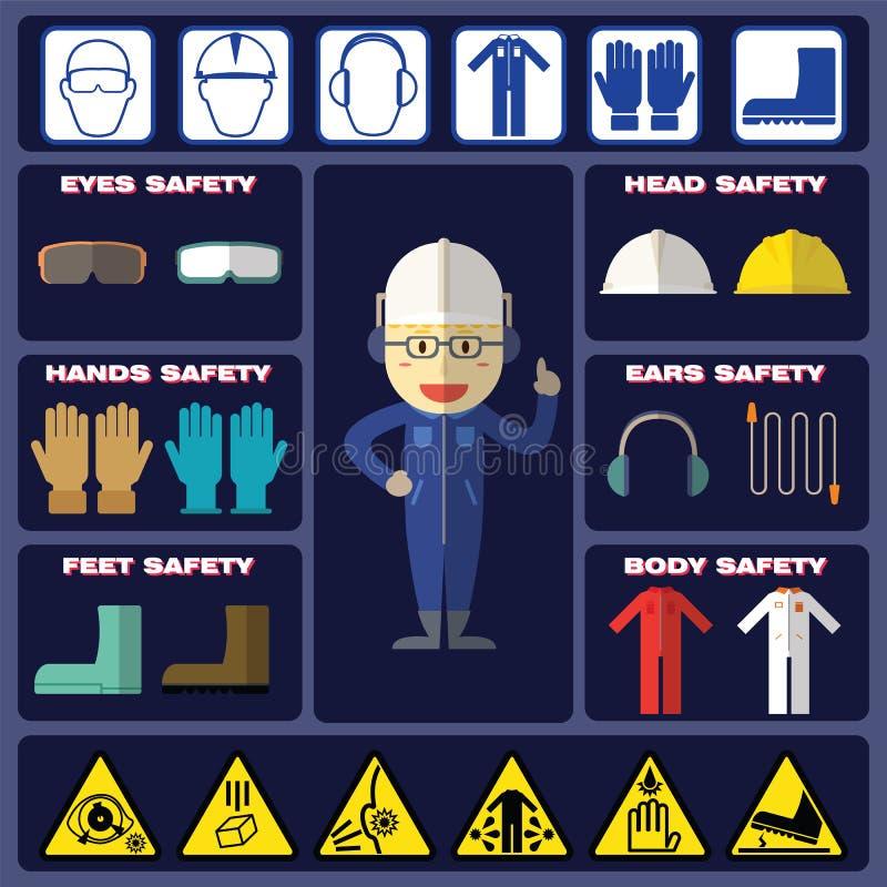 安全男孩用安全设备 向量例证