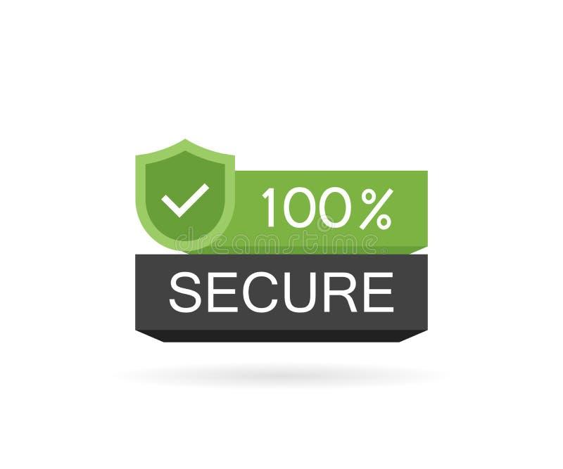 100安全的按钮 商务网站的徽章 现代传染媒介例证平的样式 库存例证