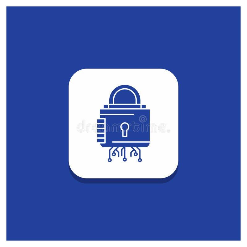 安全的,网络,锁,保护,安全纵的沟纹象蓝色圆的按钮 向量例证