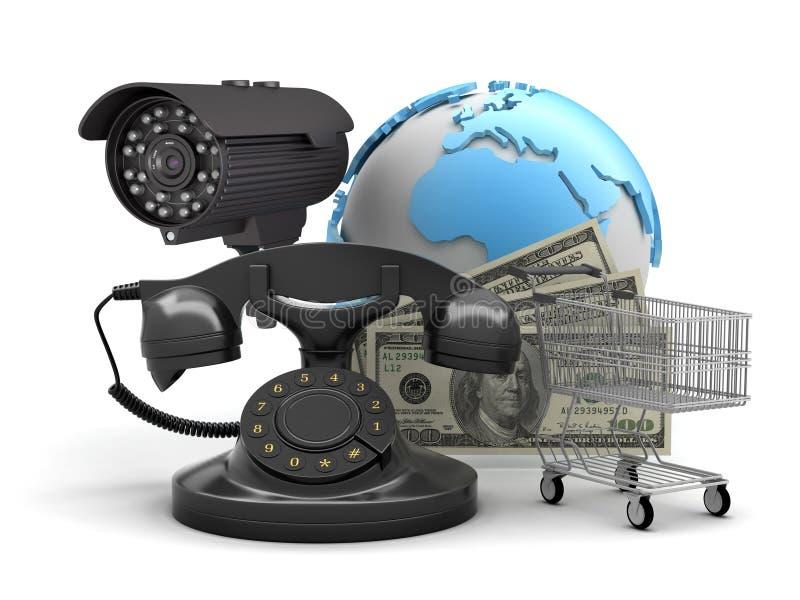 安全监控相机、转台式电话、购物车和美金 向量例证