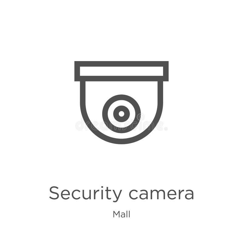 安全监控相机从购物中心汇集的象传染媒介 稀薄的线安全监控相机概述象传染媒介例证 概述,稀薄的线 皇族释放例证