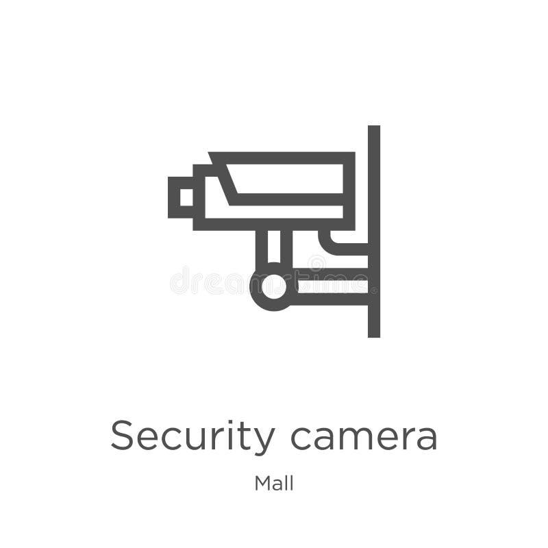 安全监控相机从购物中心汇集的象传染媒介 稀薄的线安全监控相机概述象传染媒介例证 概述,稀薄的线 向量例证