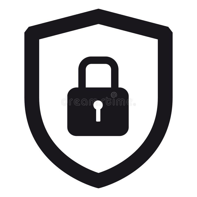 安全盾或病毒盾在白色和网站的锁象-隔绝的阿普斯 库存例证