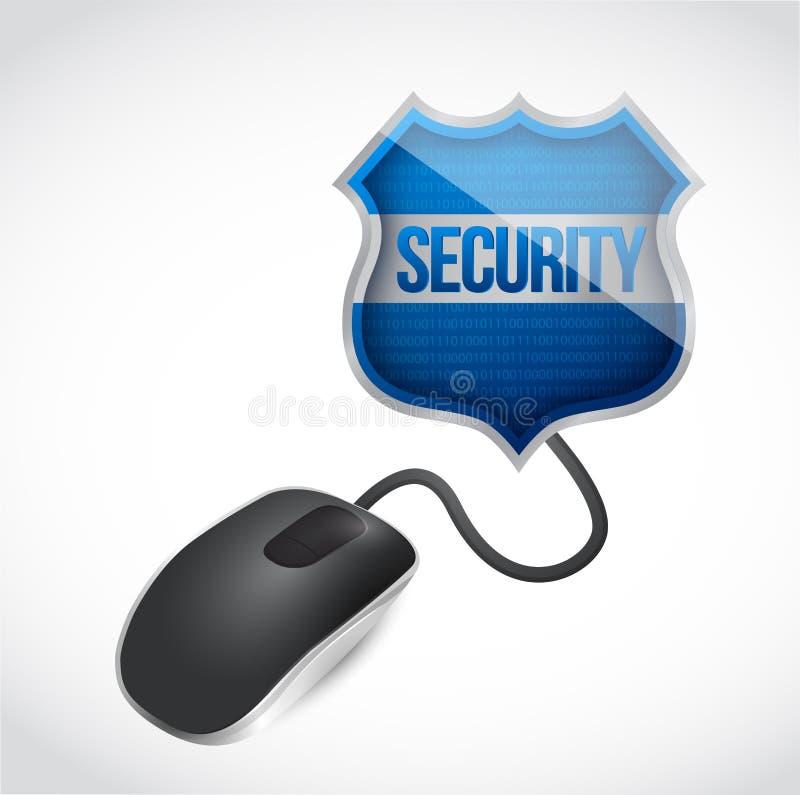 安全盾标志被连接到老鼠 库存例证