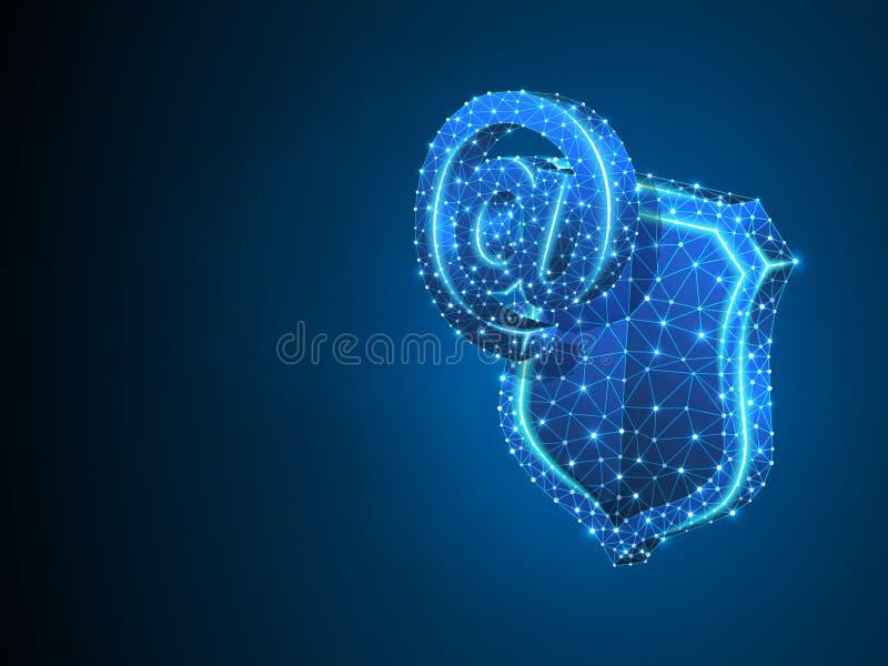 安全盾的,抽象霓虹3d互联网 多角形传染媒介企业电子邮件,网保护概念 低多 库存例证