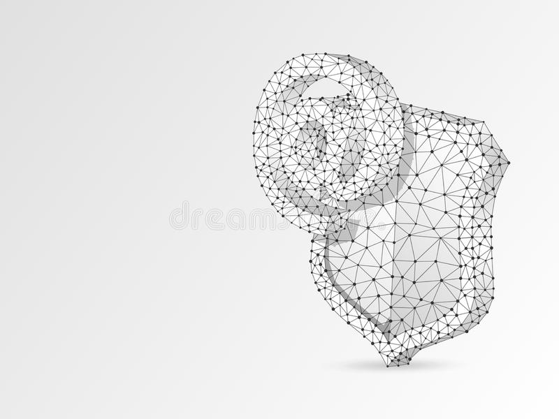 安全盾的,抽象origami 3d互联网 多角形传染媒介企业电子邮件,网保护概念 低多 皇族释放例证