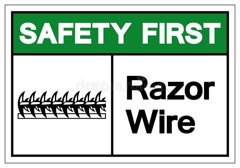 安全第一剃刀导线标志标志,传染媒介例证,隔绝在白色背景标签 EPS10 库存例证
