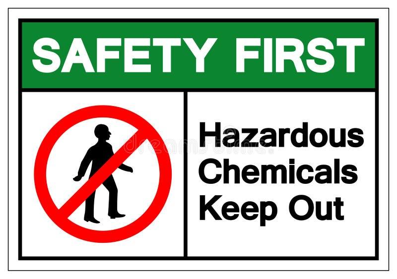 安全第一危害化学制品把标志标志,传染媒介例证,在白色背景标签的孤立关在外面 EPS10 库存例证