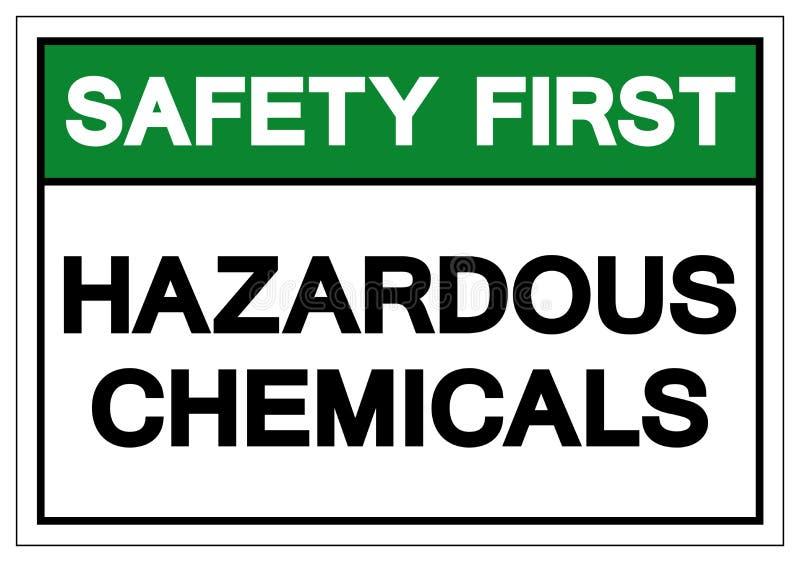安全第一危害化学符号标志,传染媒介例证,在白色背景标签的孤立 EPS10 向量例证
