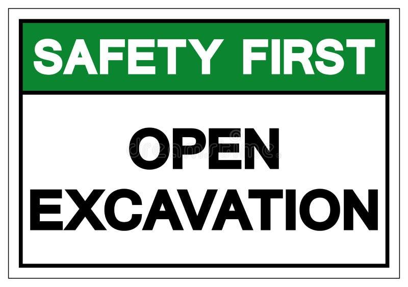 安全第一开放挖掘标志标志,传染媒介例证,在白色背景标签的孤立 EPS10 皇族释放例证