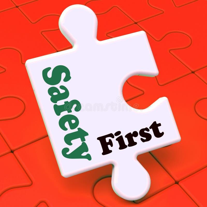 安全第一难题显示小心保护和危险 库存例证