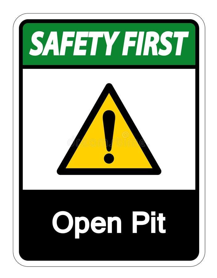 安全第一露天开采矿标志在白色背景,传染媒介例证的标志孤立 库存例证