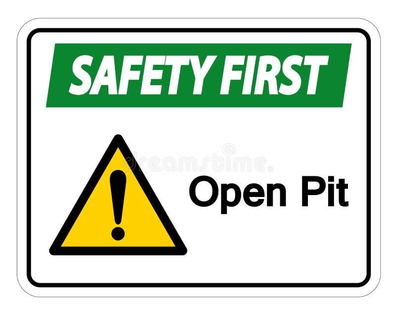安全第一露天开采矿标志在白色背景,传染媒介例证的标志孤立 向量例证