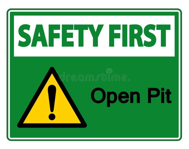 安全第一露天开采矿标志在白色背景,传染媒介例证的标志孤立 皇族释放例证