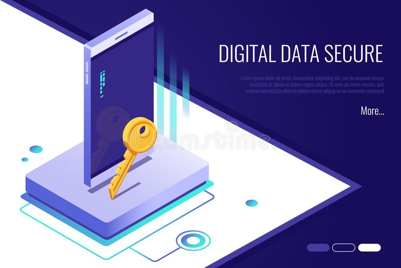 安全网络的概念 个人通入和保护电话 数字资料巩固横幅 向量例证