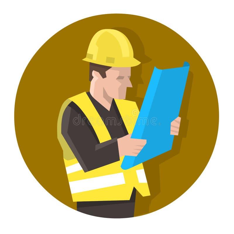 安全背心读书图纸计划的工程师 库存例证