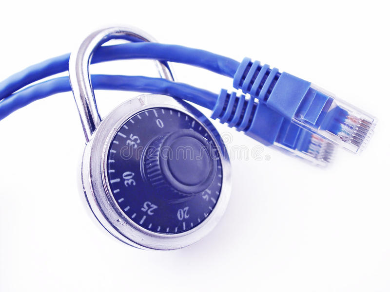 安全计算机的连接数 库存照片