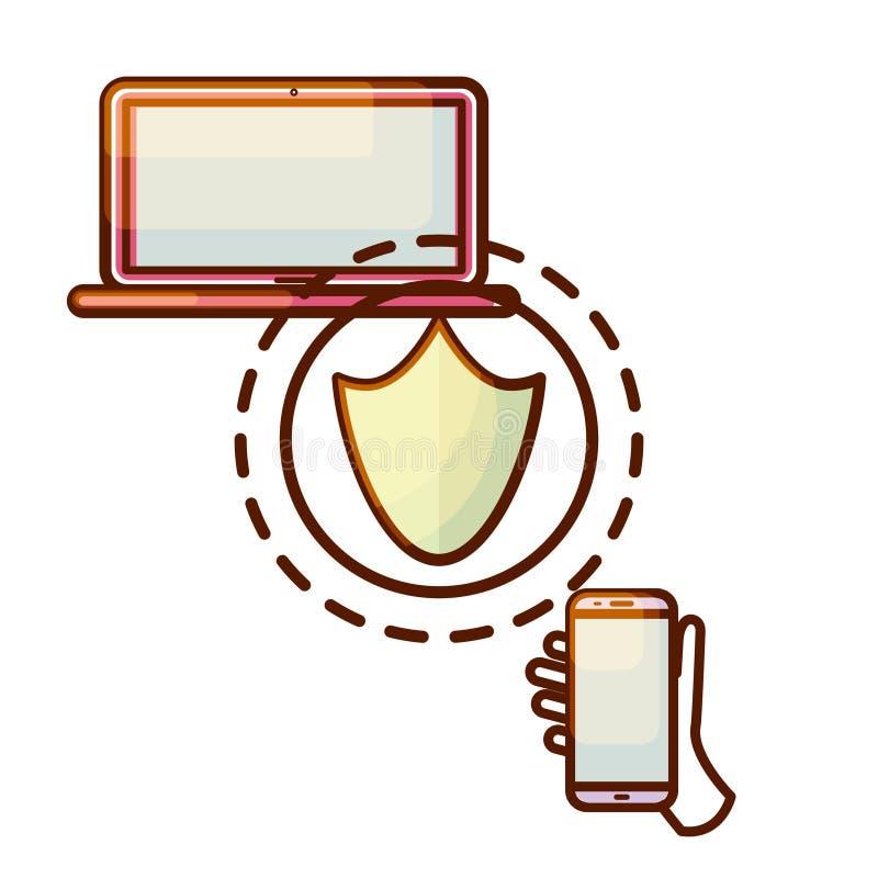 安全连接便携式计算机和智能手机设备象 向量例证