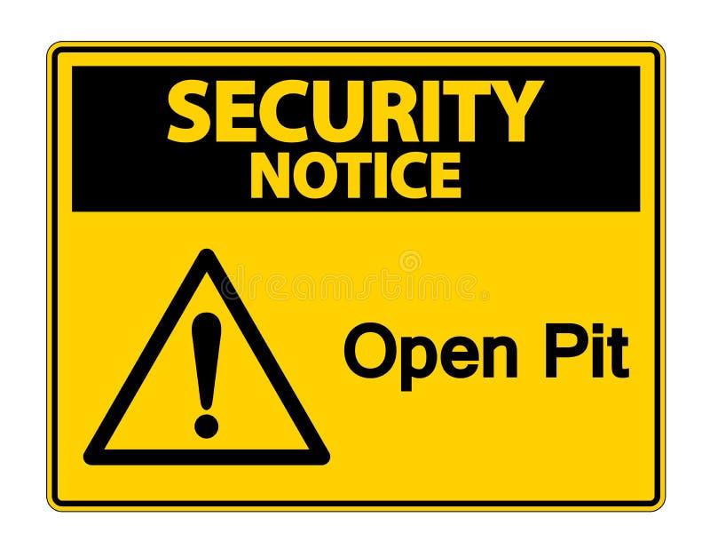 安全通知露天开采矿在白色背景,传染媒介例证的标志标志 库存例证