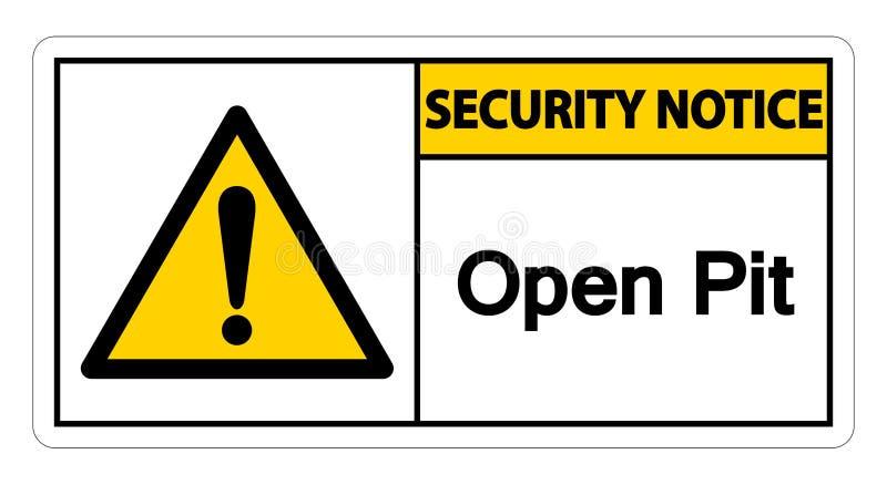 安全通知露天开采矿标志在白色背景,传染媒介例证EPS的标志孤立 10 向量例证