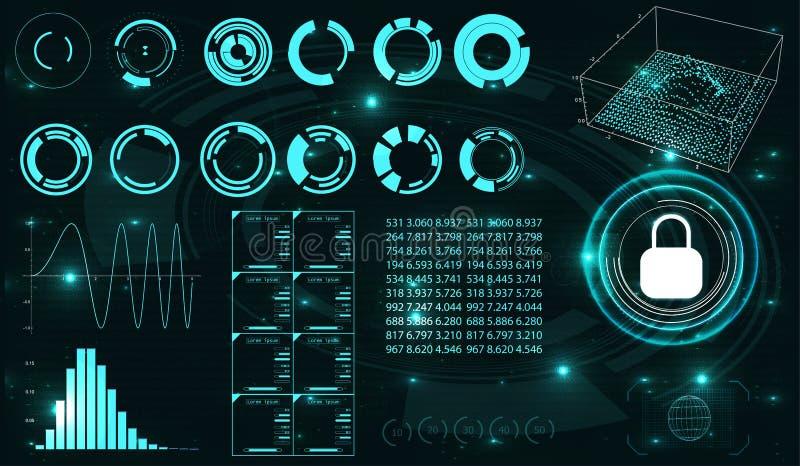 安全遮板 未来派用户界面 皇族释放例证