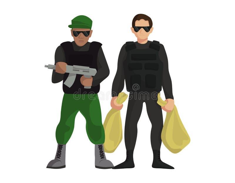 安全金钱收藏家监护人有武器身分传染媒介例证的罪行人 银行保镖制服 向量例证