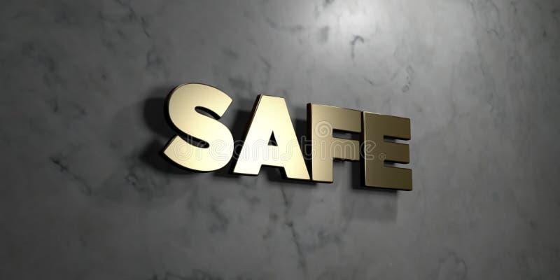 安全-在光滑的大理石墙壁登上的金标志- 3D回报了皇族自由储蓄例证 向量例证