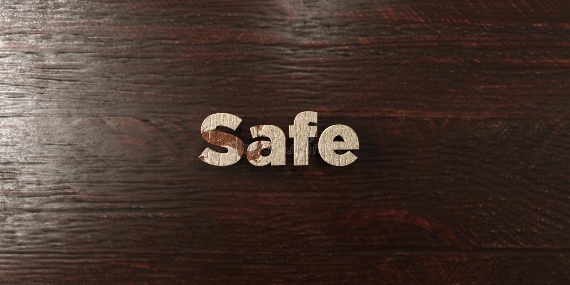 安全-在槭树的脏的木标题- 3D回报了皇族自由储蓄图象 向量例证