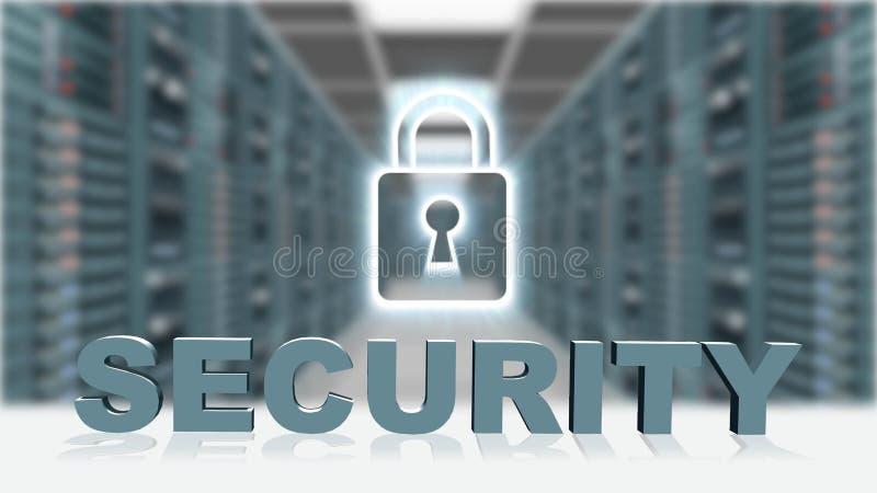 安全-3D在数字屏幕挂锁前面的信件在服务器室背景 库存例证