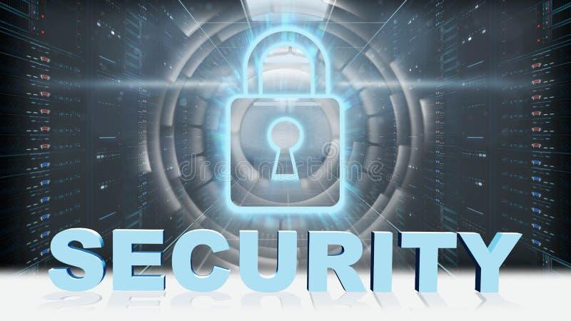 安全-3D在数字屏幕挂锁前面的信件在服务器室背景 向量例证