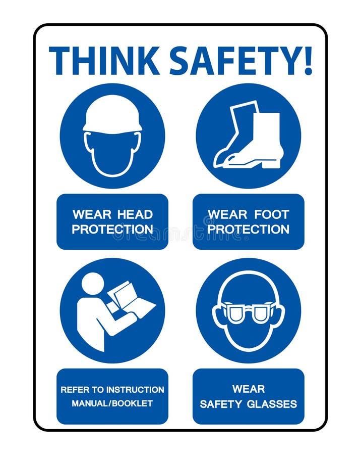 安全PPE必须是在白色背景,传染媒介例证EPS的被佩带的标志孤立 10 向量例证