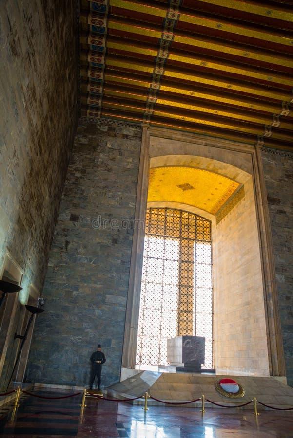 安卡拉,土耳其:Anitkabir是土耳其共和国,穆斯塔法・凯末尔・阿塔蒂尔克的创建者的陵墓 内部 免版税库存照片