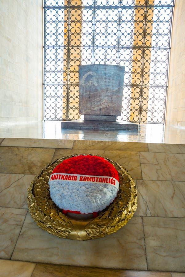 安卡拉,土耳其:Anitkabir是土耳其共和国,穆斯塔法・凯末尔・阿塔蒂尔克的创建者的陵墓 内部 免版税库存图片