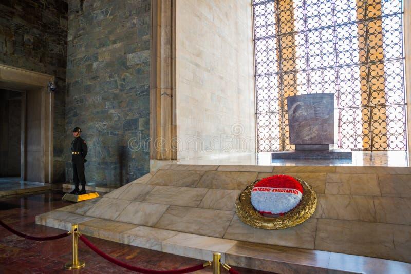 安卡拉,土耳其:Anitkabir是土耳其共和国,穆斯塔法・凯末尔・阿塔蒂尔克的创建者的陵墓 内部 图库摄影