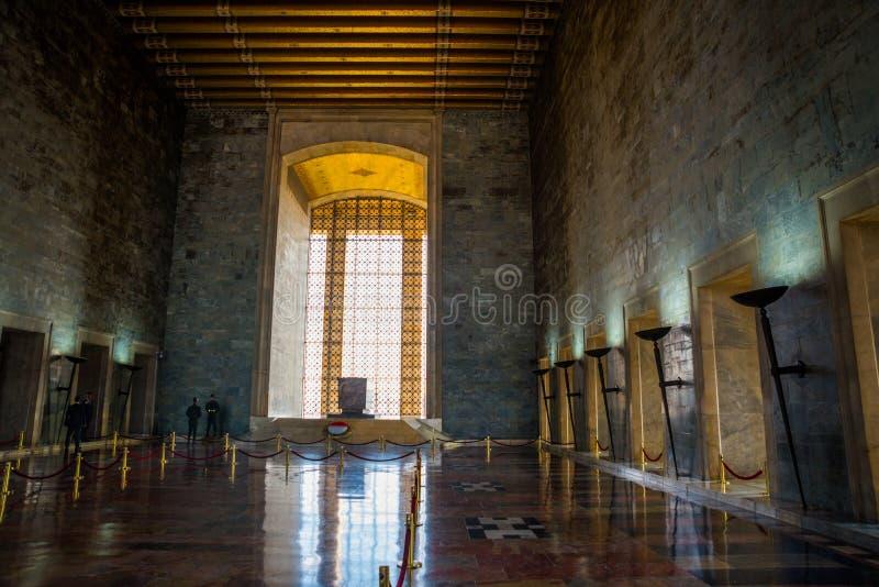 安卡拉,土耳其:Anitkabir是土耳其共和国,穆斯塔法・凯末尔・阿塔蒂尔克的创建者的陵墓 内部 库存照片