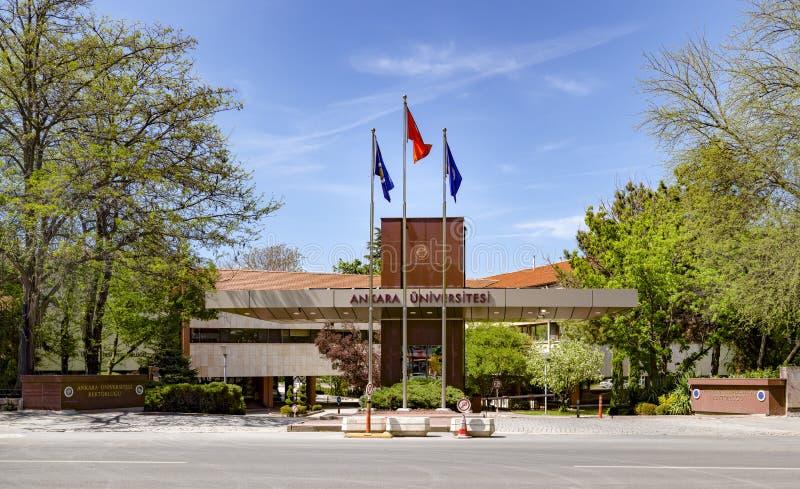 安卡拉/土耳其5月01日2019年:位于坦多甘广场的安卡拉大学入口安卡拉Universitesi Rektorlugu 免版税库存照片