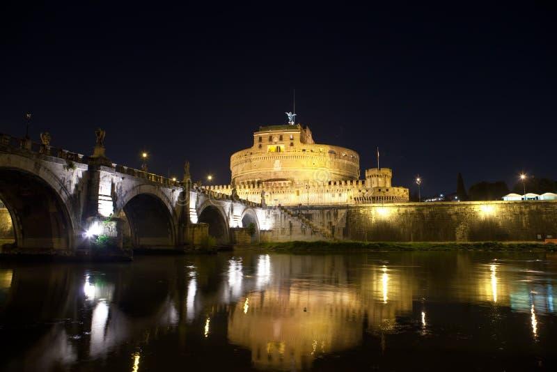 安吉洛castel意大利晚上sant的罗马 库存图片