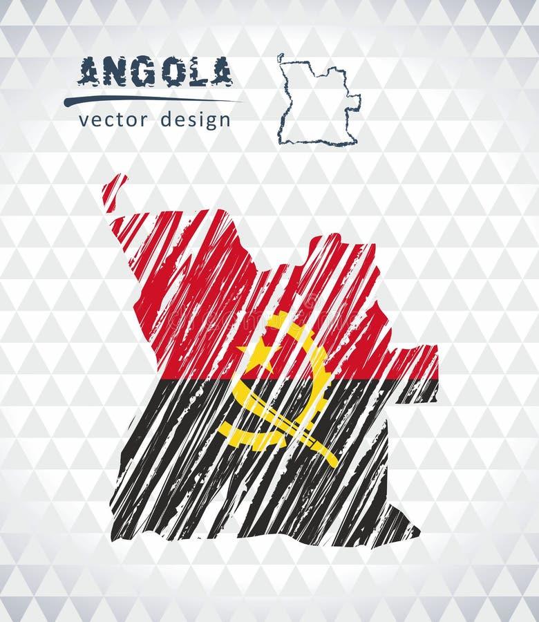 安哥拉与在白色背景隔绝的旗子里面的传染媒介地图 剪影白垩手拉的例证 向量例证