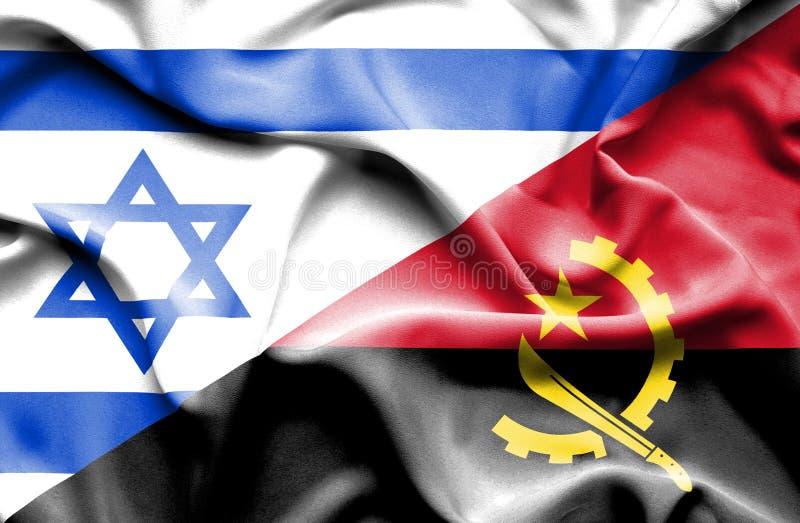 安哥拉和以色列的挥动的旗子 皇族释放例证