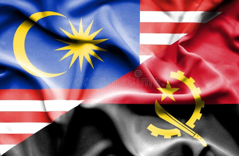 安哥拉和马来西亚的挥动的旗子 库存例证