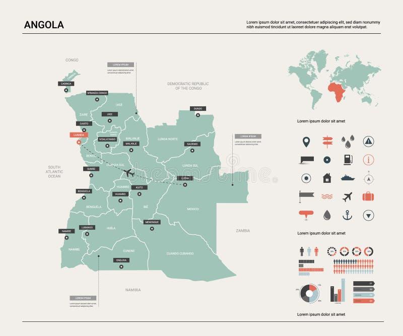 安哥拉的传染媒介地图 与分裂、城市和首都罗安达的高详细的国家地图 政治地图,世界地图,infographic 库存例证