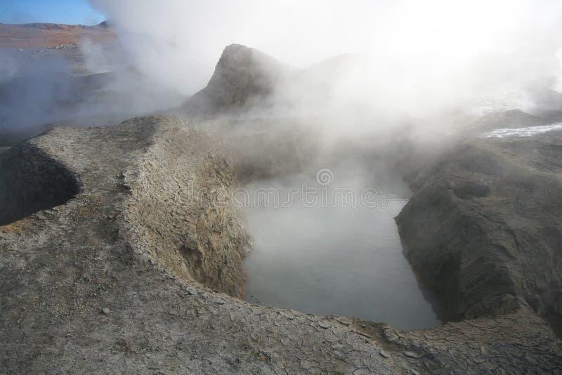 安地斯玻利维亚的de geysers manana sol 免版税库存照片