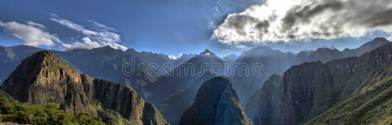 安地斯machu山picchu范围视图 免版税图库摄影